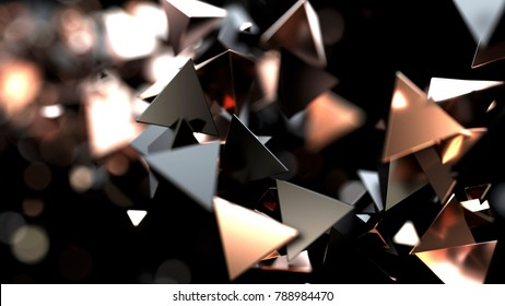 Abstract background macro particles. 3d rendering black and copper