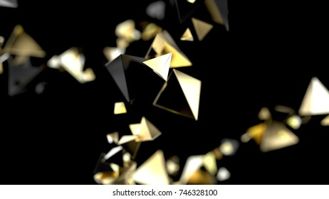 Abstract background macro piramidal particles. 3d rendering