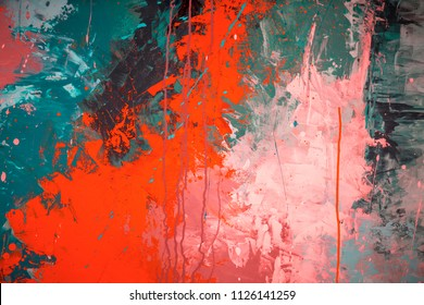 Abstract background made of colored shapes and lines. Beautiful street art graffiti. Abstract creative drawing fashion colors on the walls of the city. Urban Contemporary Culture