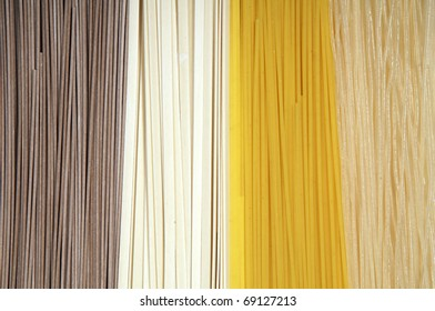Abstract background made of different types of spaghetti