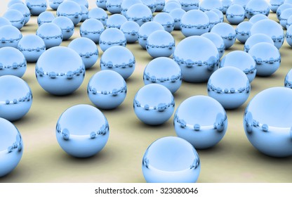 The Abstract background made of Metallic 3D bearing balls