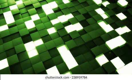 abstract background made of reflective and luminance cubes