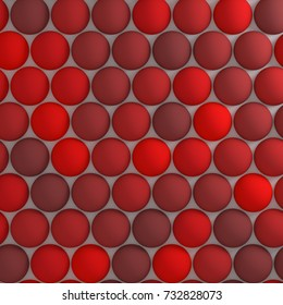 Abstract background made of spheres on white surface. Many spheres with different shades of red on plane. 3d rendering
