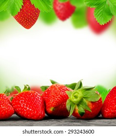 Abstract background made of strawberry and leaves