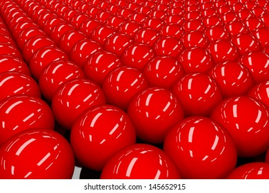 Abstract background of many bright red spherical balls.