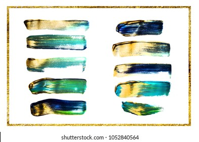 Abstract background. Mixed paint - green and gold metallic. Wonderful modern art