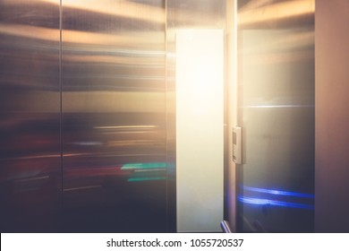 Abstract Background of modern elevator in hotel and office building. Represent business successful, up rising to the next level of challenge