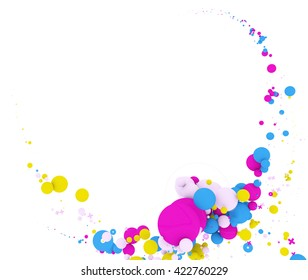 Abstract background with multicolored circles. Isolated on white background, include clipping path. 3d illustration