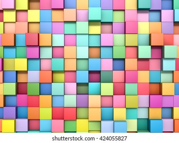 Abstract background of multi-colored cubes, 3D illustration