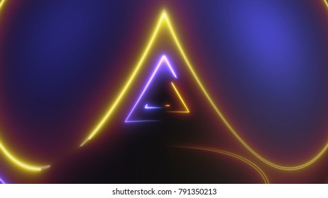 Abstract background with neon lines. 3d rendering