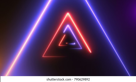 Abstract background with neon triangles. 3d rendering