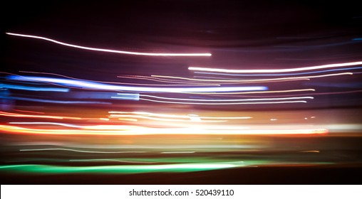 Abstract background of night light on street , long exposure shot