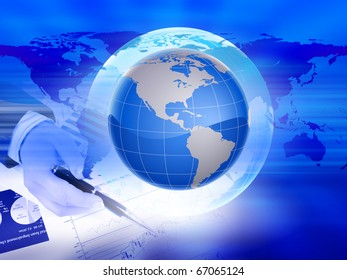 Abstract background on global business with the planet Earth in the background.