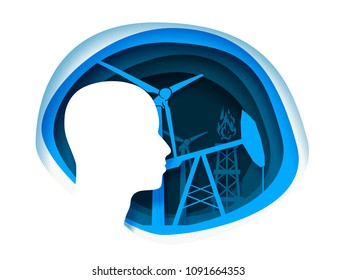 Abstract background with paper cut shapes. Design layout for business presentations and posters. Colorful carving art. Human head and energy relative icons. Natural gas, wind and oil power