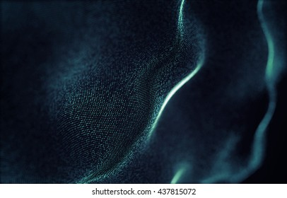 abstract background of particles. waves of particles
