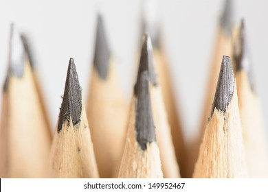 Abstract background of pencils with extremely shallow dof. Selective focus limited to front pencil.