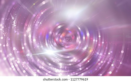 Abstract background pink tunnel. Beautiful illustration background with circles and particles.