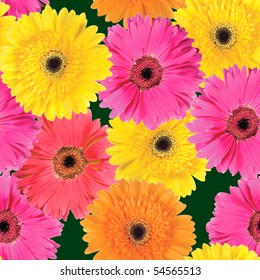 Abstract background of pink, yellow and orange flowers. Seamless pattern. Close-up. Studio photography.