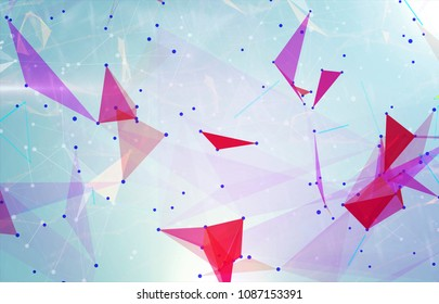 Abstract background polygonal. Bright blue digital illustration with triangles.