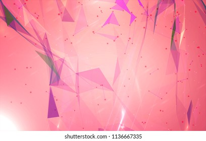Abstract background polygons. Lines plexus in style minimalism. Digital red geometric illustration with triangles.