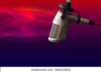 Abstract background with professional microphone