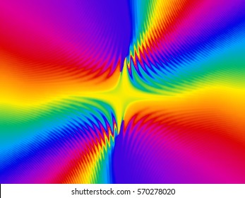 Abstract background in psychedelic rainbow color burst.