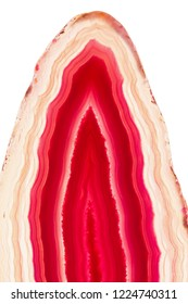 Abstract background, red and yellow agate slice mineral isolated on white background