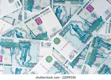 Abstract background from roubles banknotes. Money concept.