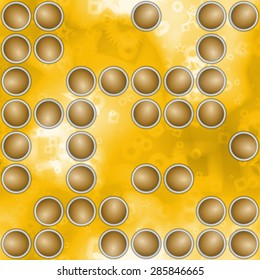 Abstract background with scattered circular elements in yellow spectrum