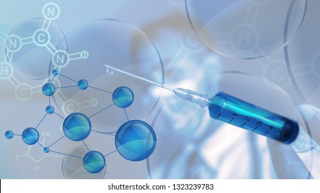 abstract background of scientist with syringe on hand