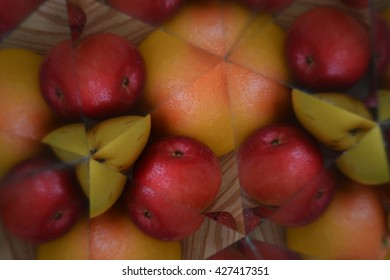 Abstract background from sliced fruits and vegetables, kaleidoscope effect