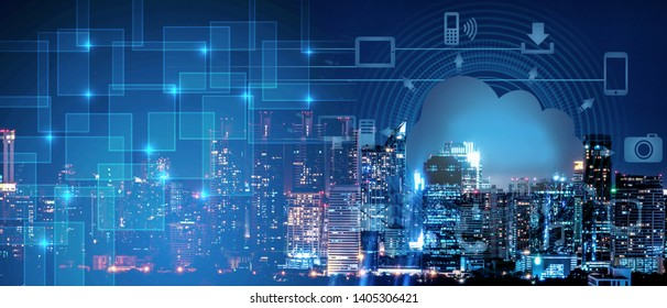 abstract background of smart city intelligence networking on clound technology, night cityscape with digital and cloud technology sign and icon