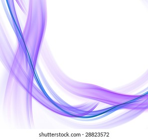 Abstract Background - Soft, lavender tones, smooth ribbon flows and tangles against white with copy space