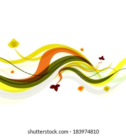 Abstract background | spring wave lines with leaves