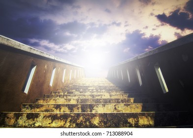 Abstract background, stairs to the sky, light beam effect and cloudy background