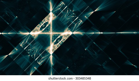 Abstract background in techno style.  Green tones.  Interesting geometric pattern.