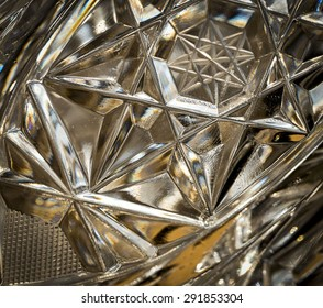 abstract background or texture detail of cut glass