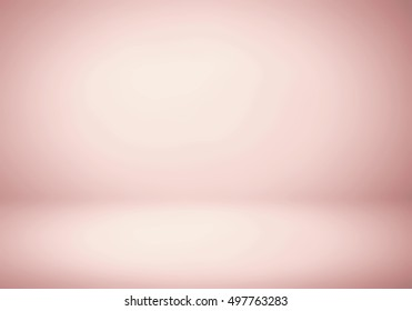 Abstract background texture of light Rose gold gradient wall, flat floor. for product.