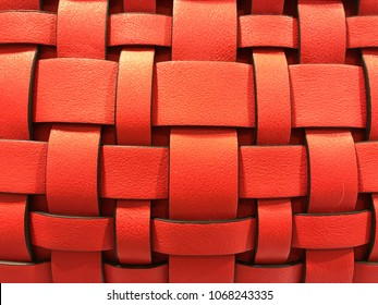 Abstract background or texture, made up of red leather strips, interlaced with each other
