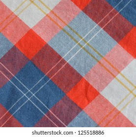 Abstract Background Texture Of A Red, Blue And White Checkered Table Cloth