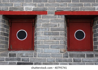 Abstract background of the traditional window framework in the great wall, beijing, china