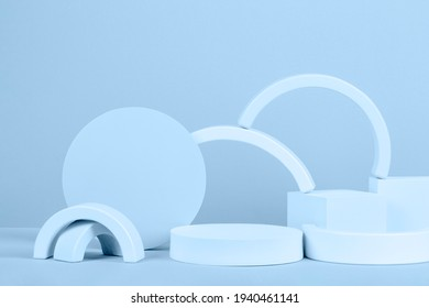 Abstract background trendy composition with geometric shapes forms. Exhibition podium, platform for product presentation on light blue background