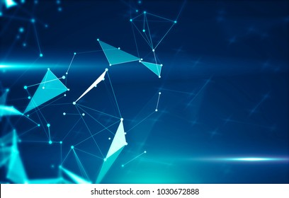 Abstract background with triangular cells for design. Bright blue digital illustration with polygons on a dark background.