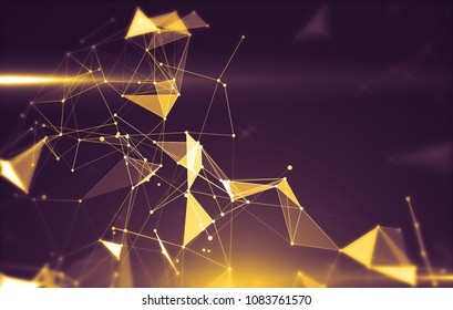 Abstract background with triangular cells for design. Bright gold digital illustration with polygons on a dark background.