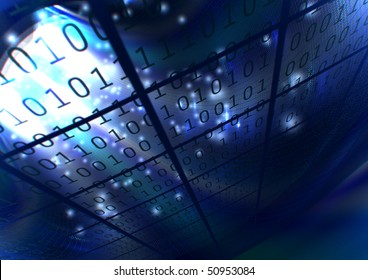 abstract background virtual blue binary numbers
