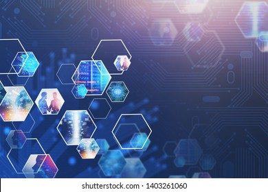 Abstract background with virtual screen and business images. Concept of hi tech in business and big data. Toned image double exposure. Elements of this image furnished by NASA