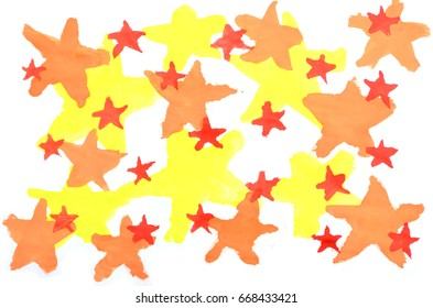 Abstract background watercolor illustration with the image of a set of yellow, red and orange stars of various sizes that overlap each other