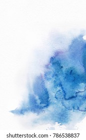 Abstract  background . Watercolor for a background. Splash in paints on white paper.   Background form  picturesque spots . Blue spot.