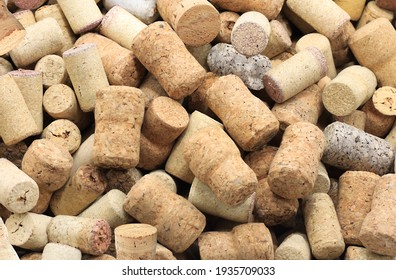 Abstract background with wine corks from sparkling, corks from white wine, corks from red wine and other wine corks