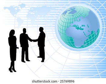 An abstract  background with a wire mesh globe on a blue striped base with silhouetted business people with room for text